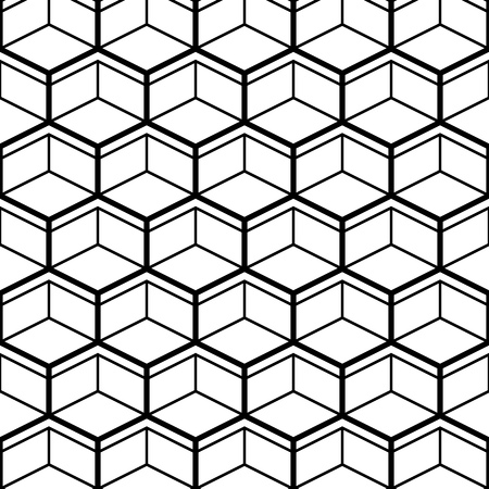 Illustration for Seamless Pattern with Black Line Hexagons. Vector endless texture. - Royalty Free Image
