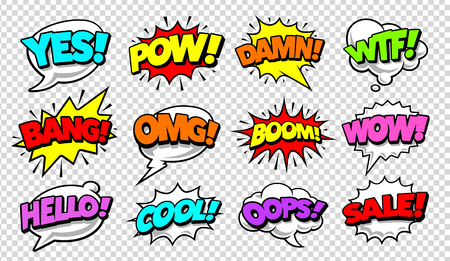 Ilustración de Retro comic speech bubbles with different tags on transparency background. Vector illustration. - Imagen libre de derechos