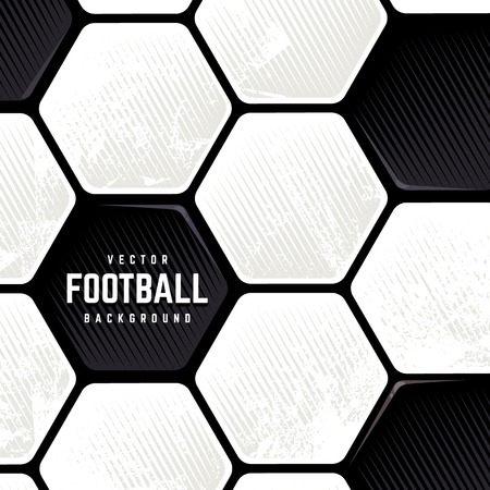 Illustration pour Traditional European Soccer Ball weathered surface background. Vector football grunge background. - image libre de droit