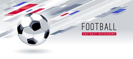 Ilustración de Traditional European Soccer Ball on dynamic abstract background with copy space. Soccer banner vector template. - Imagen libre de derechos