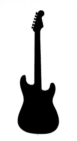 Foto de Black guitar outline shown on a white background - Imagen libre de derechos