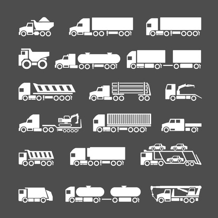Illustrazione per Set icons of trucks, trailers and vehicles isolated on grey - Immagini Royalty Free