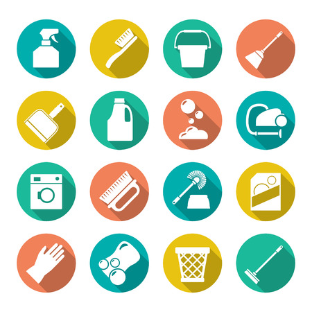 Illustration pour Set flat icons of cleaning isolated on white - image libre de droit
