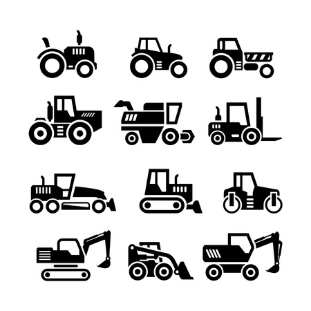 Illustration pour Set icons of tractors, farm and buildings machines, construction vehicles isolated on white - image libre de droit