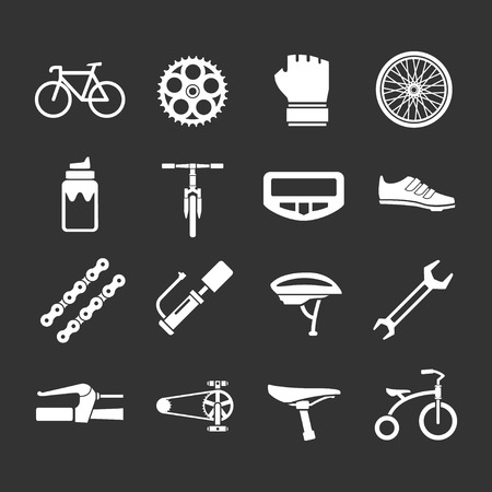 Illustration pour Set icons of bicycle, biking, bike parts and equipment isolated on black - image libre de droit
