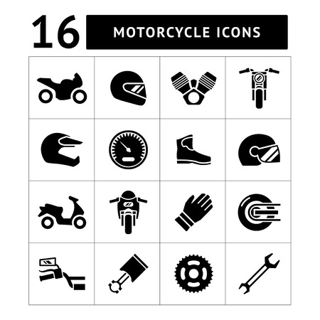 Illustration pour Set icons of motorcycle isolated on white - image libre de droit