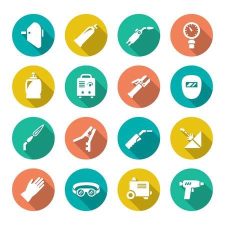 Ilustración de Set flat icons of welding isolated on white - Imagen libre de derechos