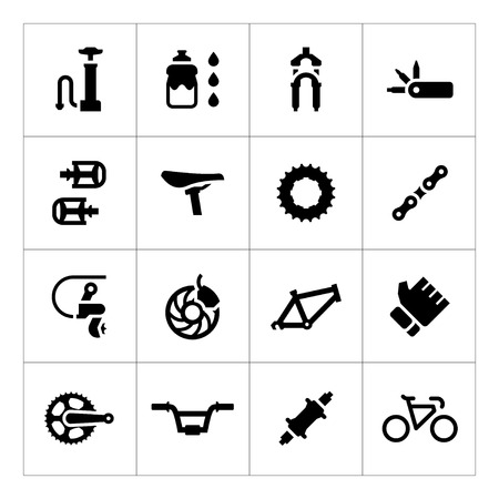 Set icons of bicycle parts and accessories isolated on white