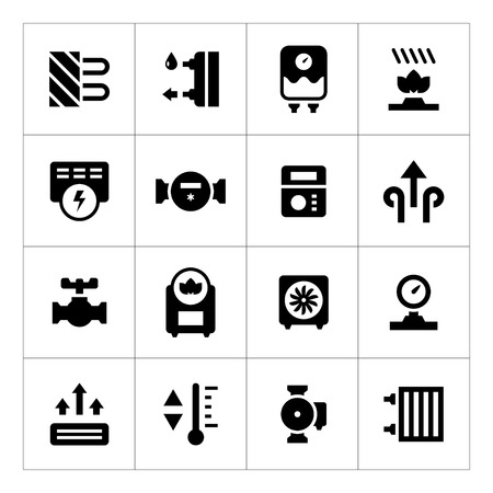 Illustration pour Set icons of heating isolated on white - image libre de droit