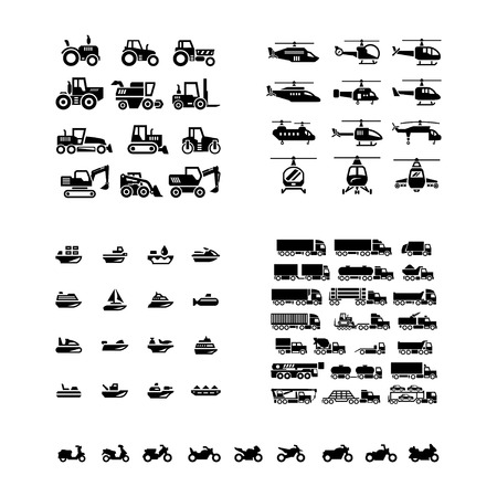 Illustration pour Set icons of transport. Tractors, helicopters, water transport, trucks and motorcycles isolated on white - image libre de droit