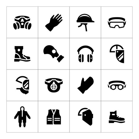 Illustration pour Set icons of personal protective equipment isolated on white - image libre de droit