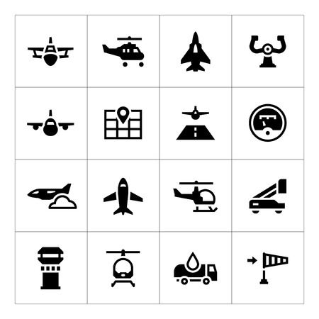 Illustration pour Set icons of aviation isolated on white - image libre de droit