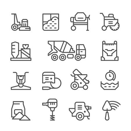Illustration pour Set line icons of concrete isolated on white. Vector illustration - image libre de droit