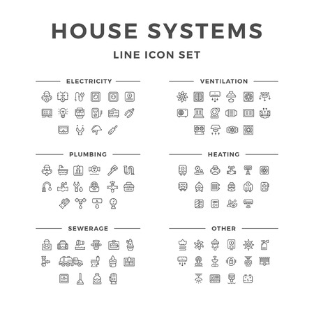 Illustration pour Set line icons of house systems isolated on white. Vector illustration - image libre de droit