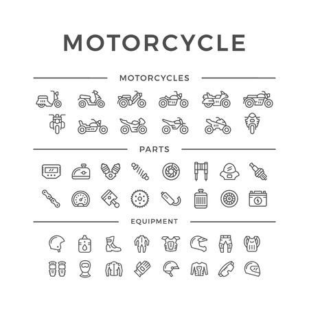 Illustration pour Set of motorcycle related line icons isolated on white. Vector illustration - image libre de droit