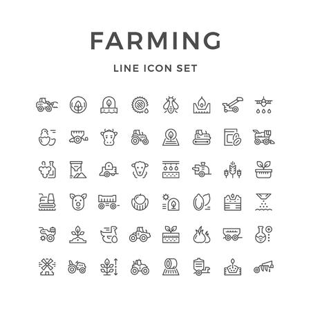 Illustration pour Set line icons of farming and agriculture - image libre de droit