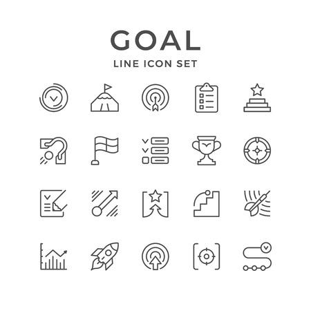 Illustration pour Set line icons of goal isolated on white. Vector illustration - image libre de droit