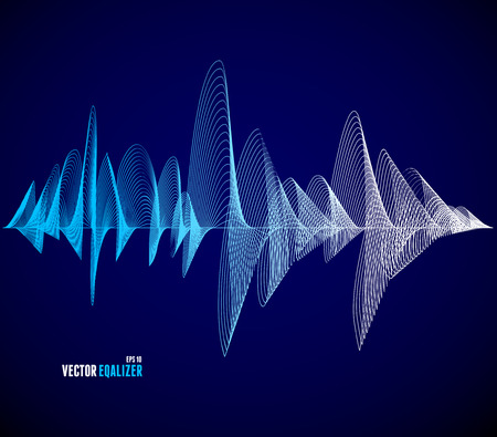Ilustración de Vector equalizer, colorful musical bar. Dark background. Wave concept - Imagen libre de derechos