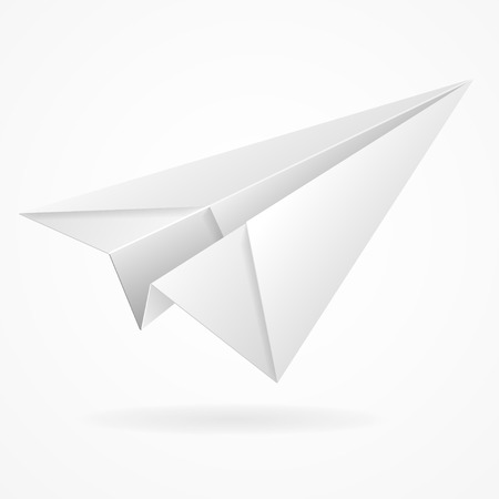 Illustration pour Vector origami paper airplane on white background isolated - image libre de droit