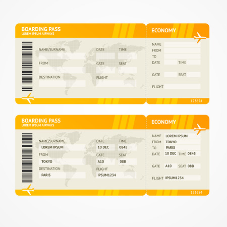 Illustration pour Vector Orange Modern Airline boarding pass tickets isolated on white - image libre de droit