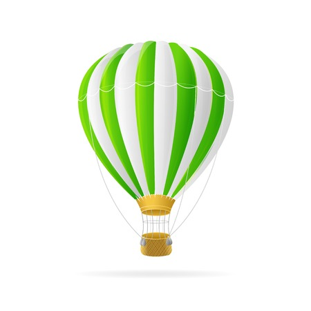 Illustration pour Vector white and green hot air ballon isolated on white background - image libre de droit
