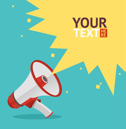 Ilustración de Vector illustration megaphone sign card. Loudspeaker symbol. - Imagen libre de derechos