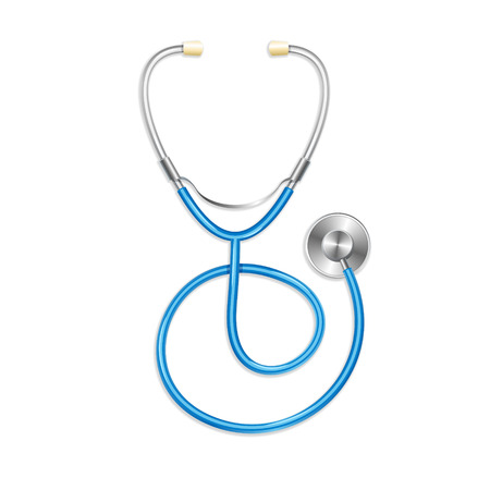 Illustration pour Vector. Blue stethoscope isolated on white background. Medical symbol - image libre de droit