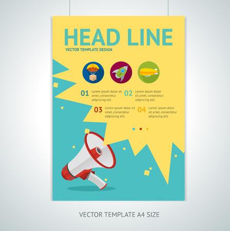 Ilustración de Vector illustration megaphone brochure flyer design templates in A4 size . Loudspeaker flat symbol. Promotion marketing concept - Imagen libre de derechos