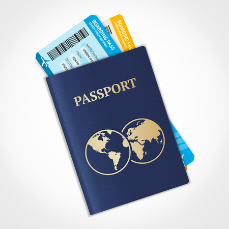 Illustration pour Vector illustration passport with tickets. Air travel concept. Flat Design - image libre de droit