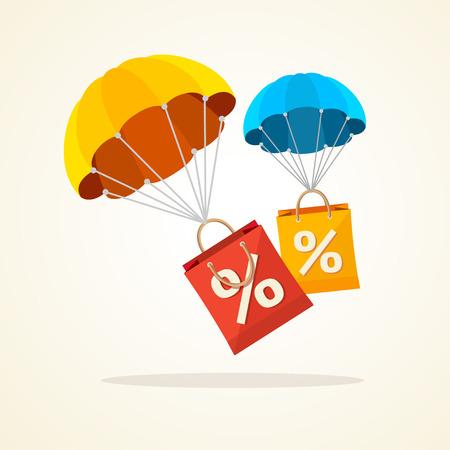 Illustration pour Vector illustration flying parachute with paper bag sale. Seasonal discounts autumn, winter. Flat Design - image libre de droit