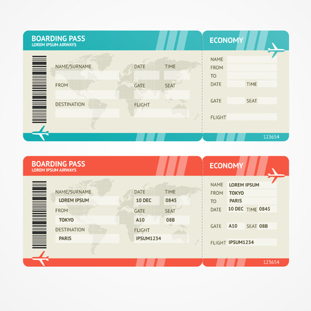 Illustration pour Vector illustration airplane tickets. Travel concept. Isolated on white. Enjoy your holiday. - image libre de droit