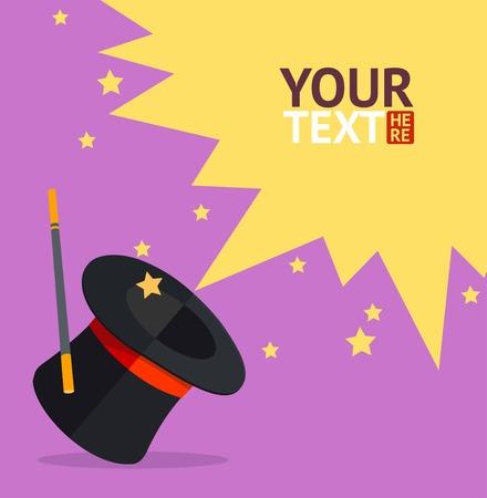 Ilustración de Vector colorful illustration in flat design style. Magic hat card, place for your text - Imagen libre de derechos