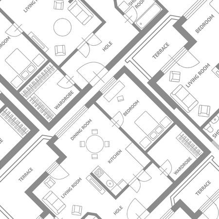 Illustration pour Vector illustration. Furniture architect plan background. Flat Design - image libre de droit
