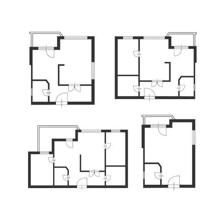 Illustration pour Vector illustration. Furniture architect plan of building set. Flat Design - image libre de droit