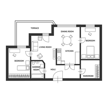 Illustration pour Vector illustration. Black and White floor architect plan with a furniture. Flat Design - image libre de droit