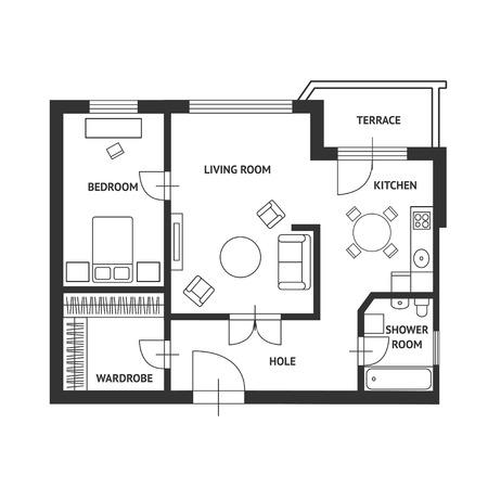 Illustration pour Vector illustration. Architect plan of house with a furniture. Flat Design - image libre de droit