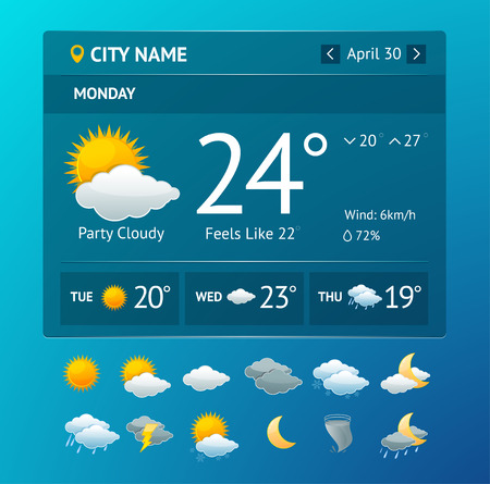 Illustration pour Vectot illustration weather widget for smartphone with icon set isolated on a white background - image libre de droit