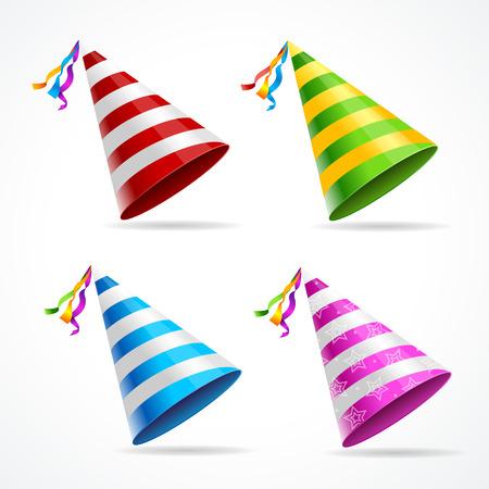 Ilustración de Vector party hat set isolated on a white background. - Imagen libre de derechos