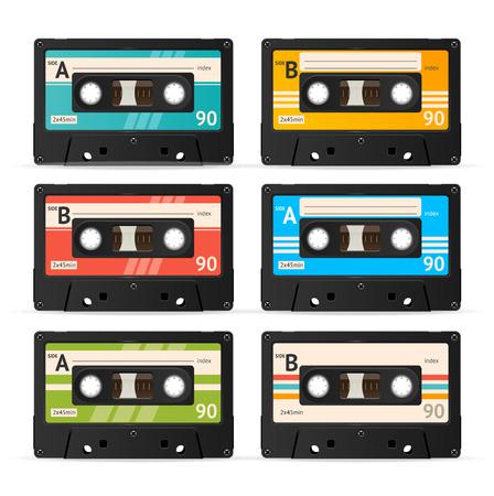 Illustration pour Vector Illustration Colorful Cassette Tape Collection isolated on a white background. - image libre de droit