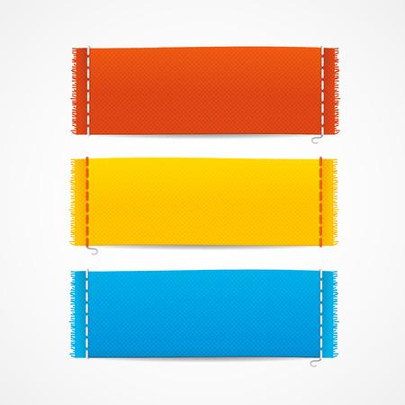 Illustration for Vector illustration realistic fabric clothing labels set, blank empty horizontal - Royalty Free Image