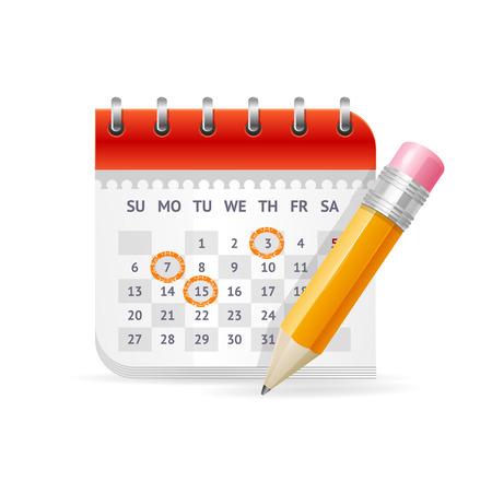 Illustration pour Calendar Business Concept. The Appointment of Important Meetings. Vector illustration - image libre de droit