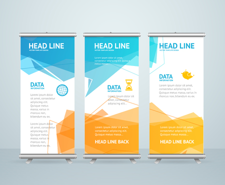 Illustration pour Roll Up Banner Stand Design with Abstract Geometric Colorful Bubble Speech. Vector illustration - image libre de droit