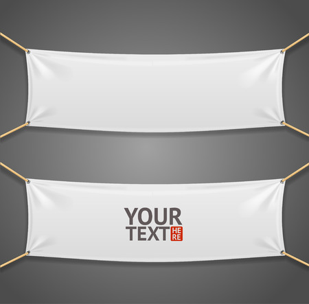 Illustration pour Blanc Fabric Rectangular Banner with Ropes Isolated on  Grey Background. Vector illustration - image libre de droit