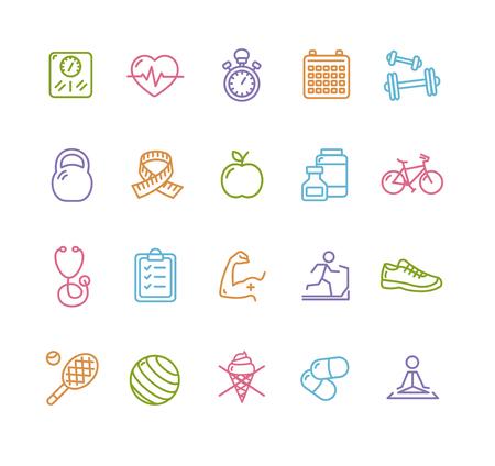 Fytness Health Colorful Outline Icon Set. Vector illustration
