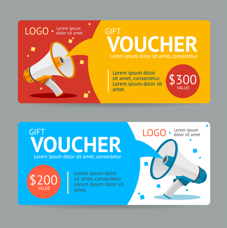 Illustration for Gift Voucher. Flat Design. Announcement Of The Award. Vector illustration - Royalty Free Image