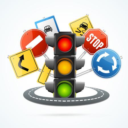 Illustration pour Traffic Light and Road Sign Concept. - image libre de droit