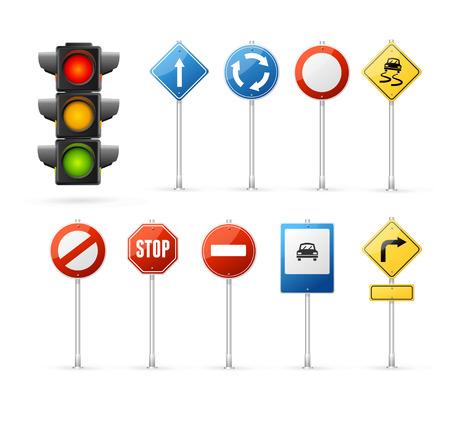 Illustration pour Traffic Light and Road Sign Set. - image libre de droit
