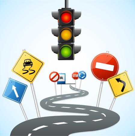 Illustration pour Concept of Road with Traffic Lights. Vector illustration - image libre de droit