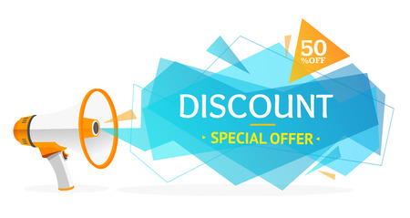 Illustration pour Discount Banner Sticker with Megaphone. Concept Of Ads. Vector illustration - image libre de droit
