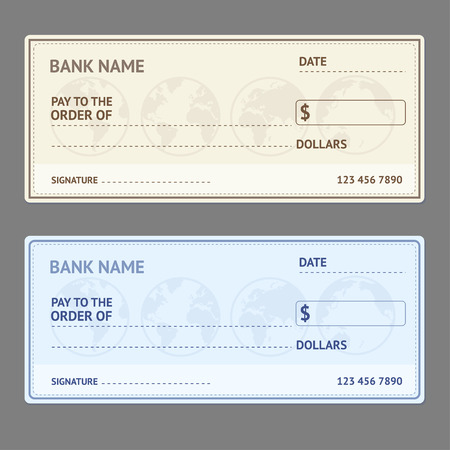 Illustration pour Bank Check Template Set with World Map on Grey Background. Vector illustration - image libre de droit